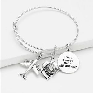 Travelers Charm Bangle Airplane Camera Bracelet